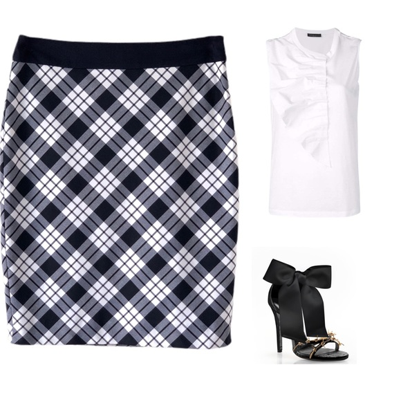 The Limited Dresses & Skirts - 🆕 THE LIMITED NAVY WHITE PENCIL SKIRT SZ 6 TALL